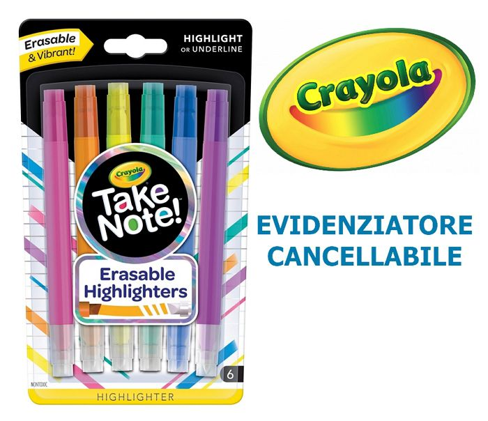 EVIDENZIATORE CRAYOLA CANCELLABILE 1x6pz BLISTER - TAKE NOTE
