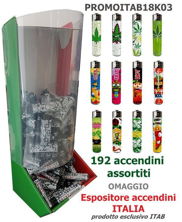 ACCENDINO ATOMIC PIETRINA 192pz ASSORTITI (simile clipper) + EXPO ITALIA OMAGGIO